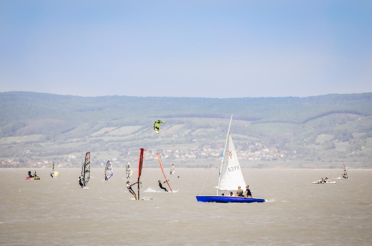 Lake Neusiedl: People sailing and windsurfing at Podersdorf. PC: Fritz Hiersche - Dreamstime.com