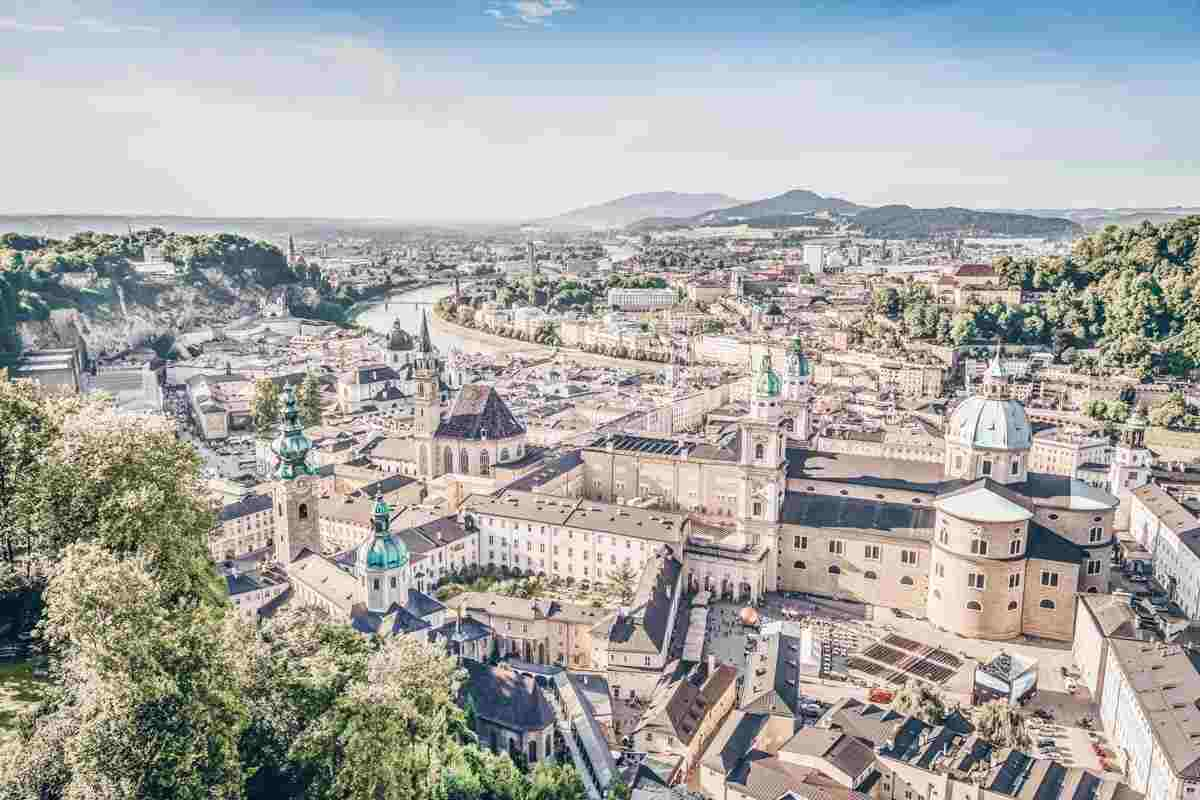 Panoramic view of the Old Town of Salzburg with the mountains in background