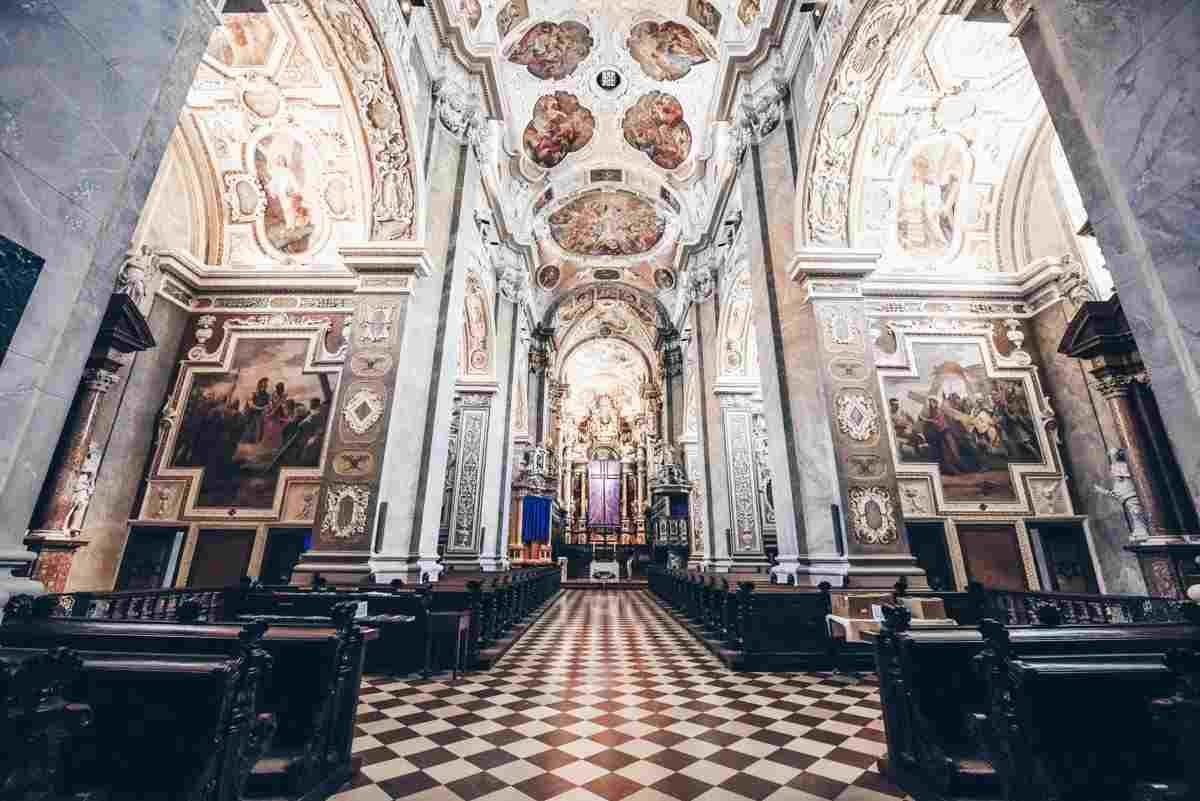 Exquisite Baroque interior, replete with frescoes and stucco-work of Klosterneuburg Abbey church