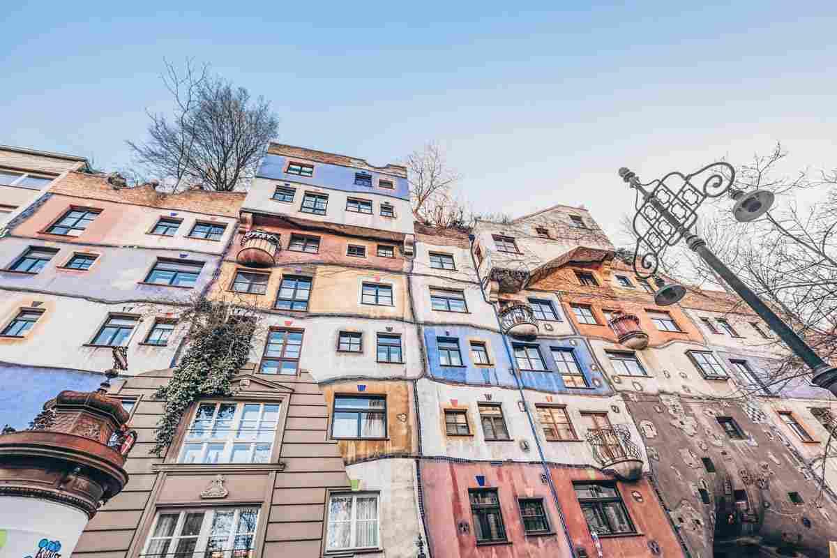 Multicolored exterior of the eccentric Hundertwasser House in Vienna