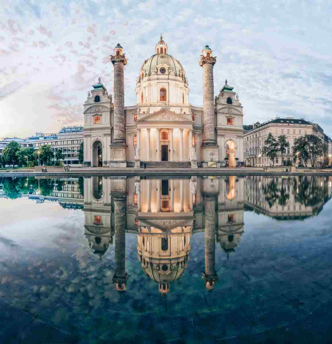 Mirror-image reflection of the beautiful Karlskirche in Vienna