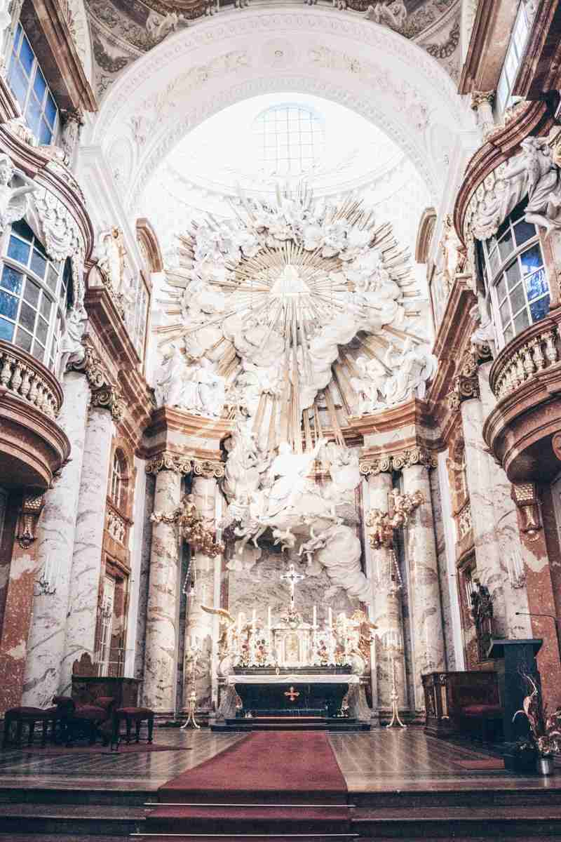 The stunning High Altar of the Church of St. Charles (Karlskirche) in Vienna