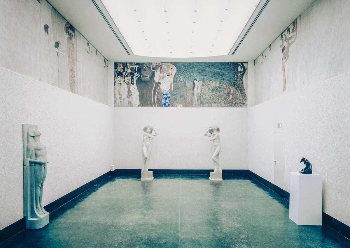 "Gustav Klimt's vivid ""Beethoven Frieze"" inside the Secession Building in Vienna"
