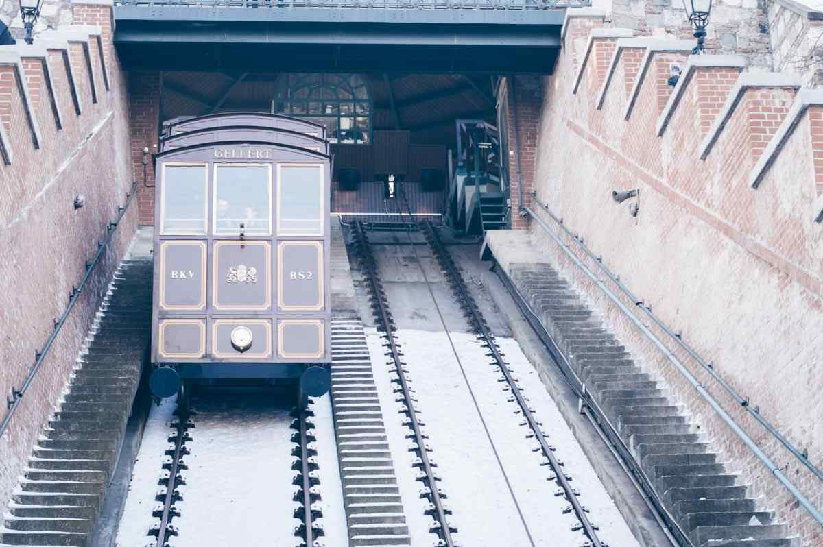 A descending wooden carriage of the Castle Hill Funicular in Budapest