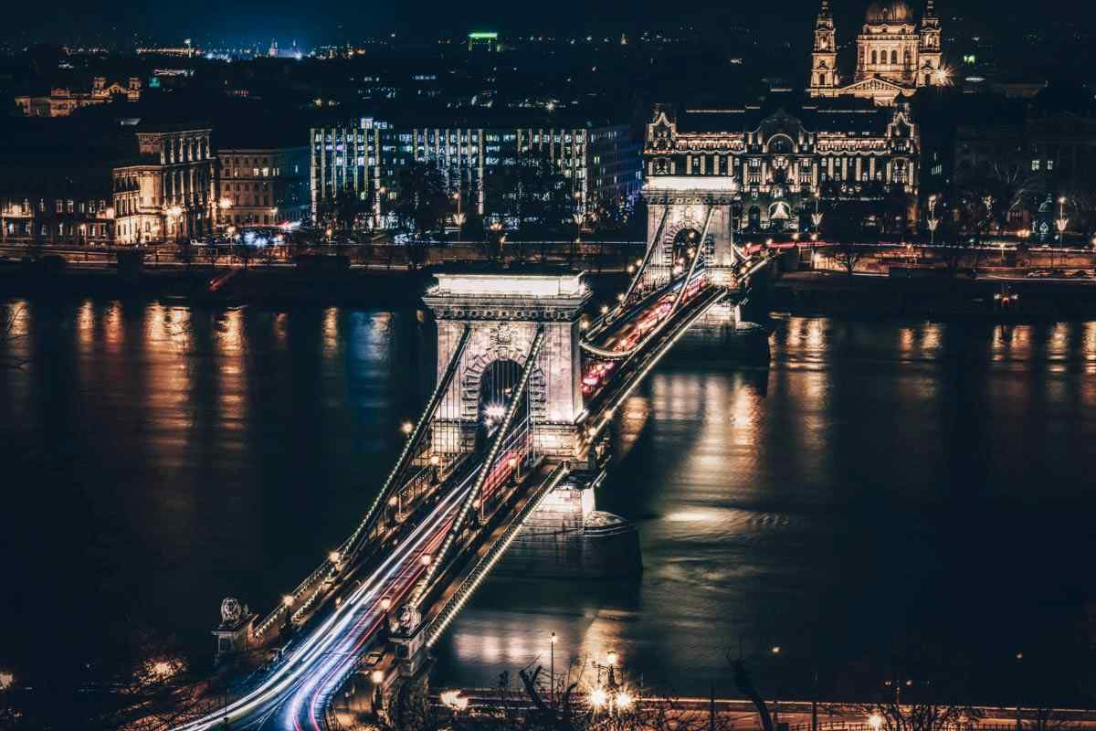 The magnificently lit-up Szechenyi Chain Bridge at night