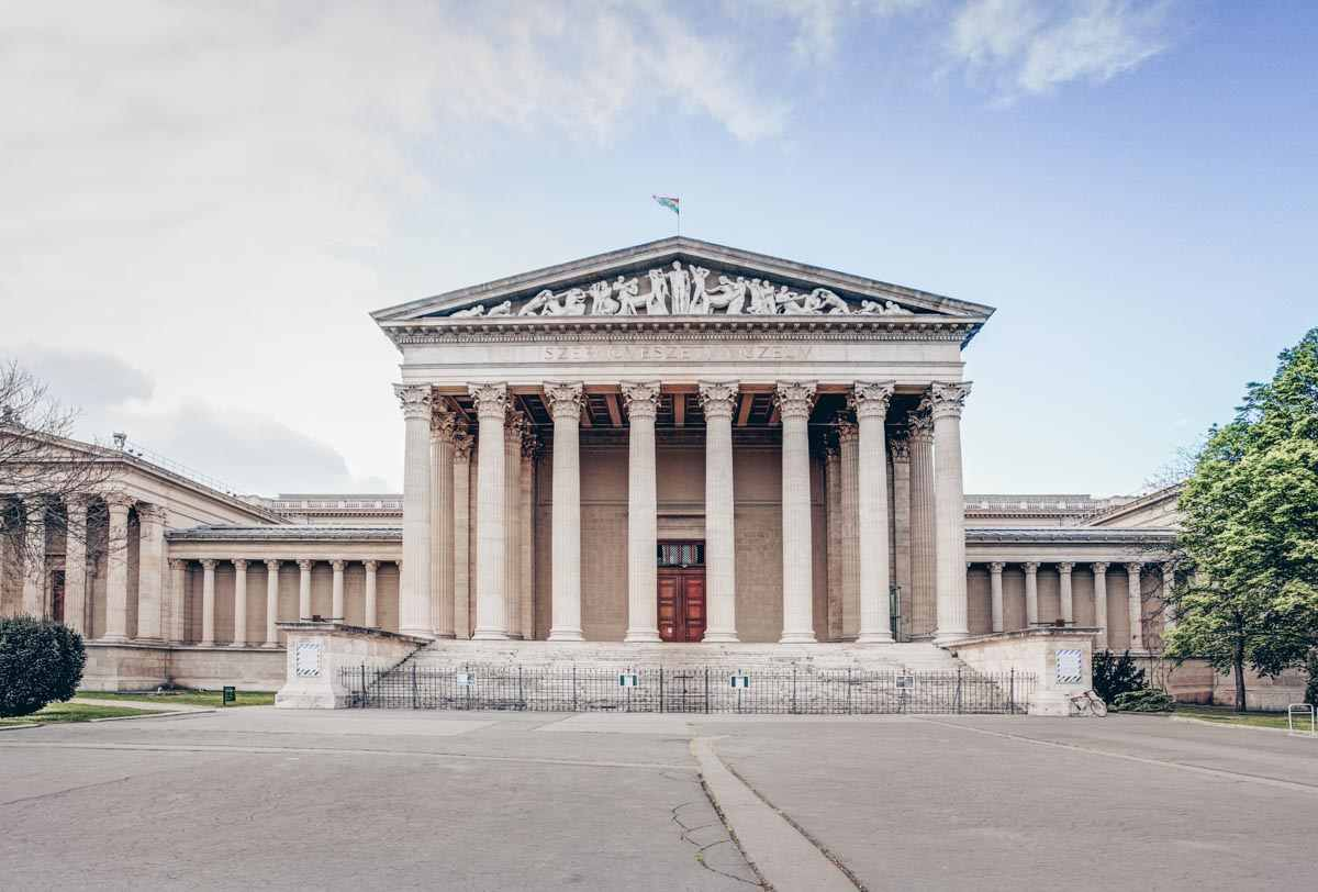 The grand Neoclassical building of the Museum of Fine Arts in Budapest