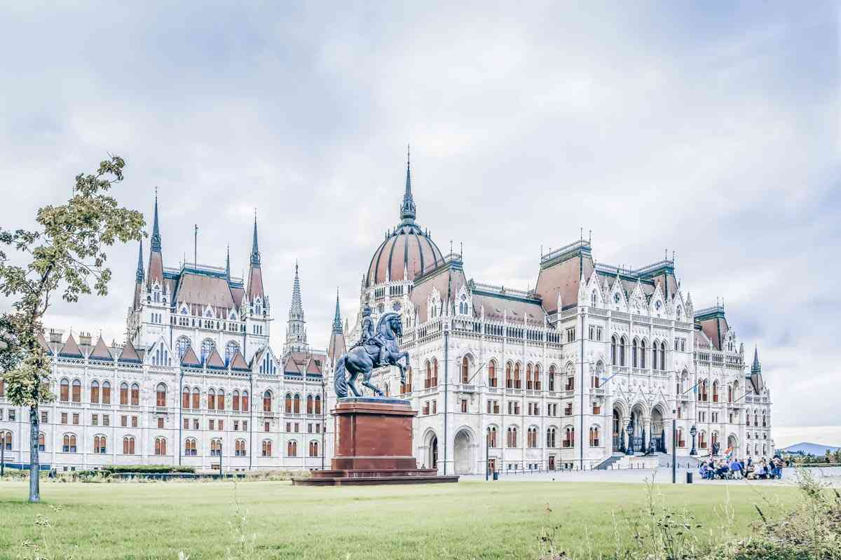 The front side of the beautiful Hungarian Parliament Building in Budapest