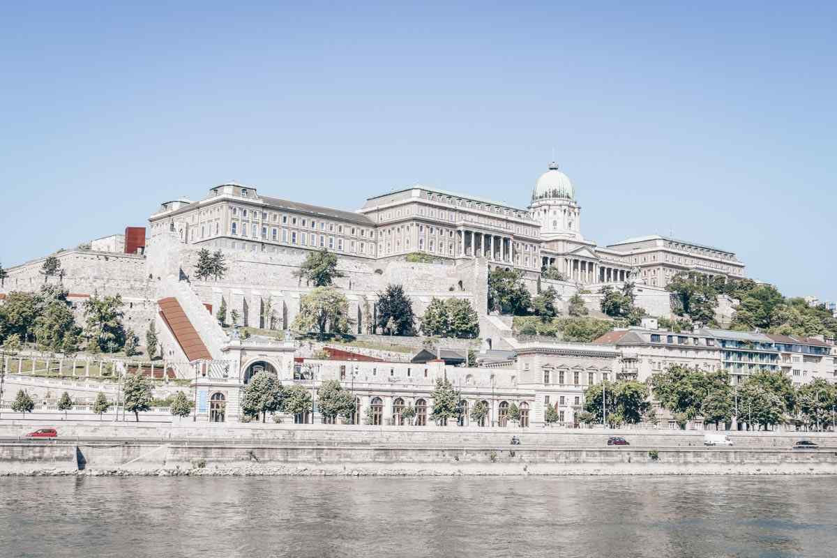 View of the massive Buda Castle from across the Danube River