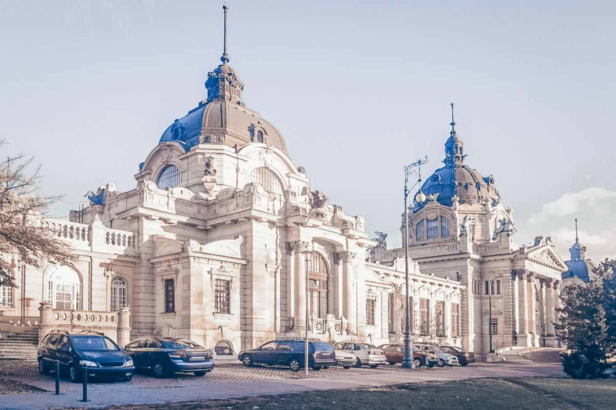 The majestic Neo-Baroque main building of the Szechenyi Thermal Baths