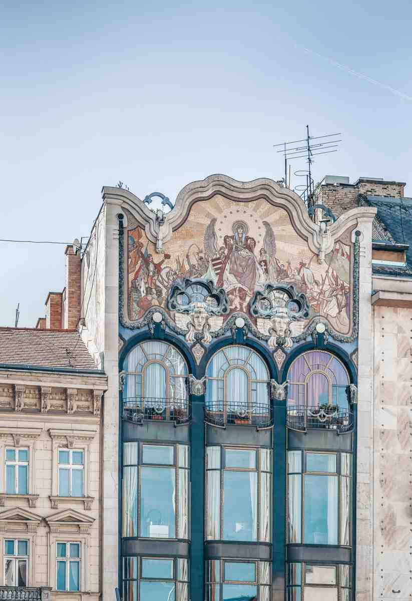 The glittering mosaic on the facade of Art Nouveau Turkish Bank House in Budapest