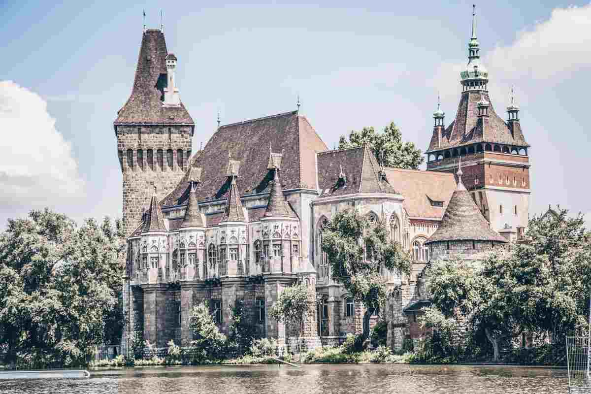 Beautiful towers and turrets of the Vajdahunyad Castle in City Park in Budapest