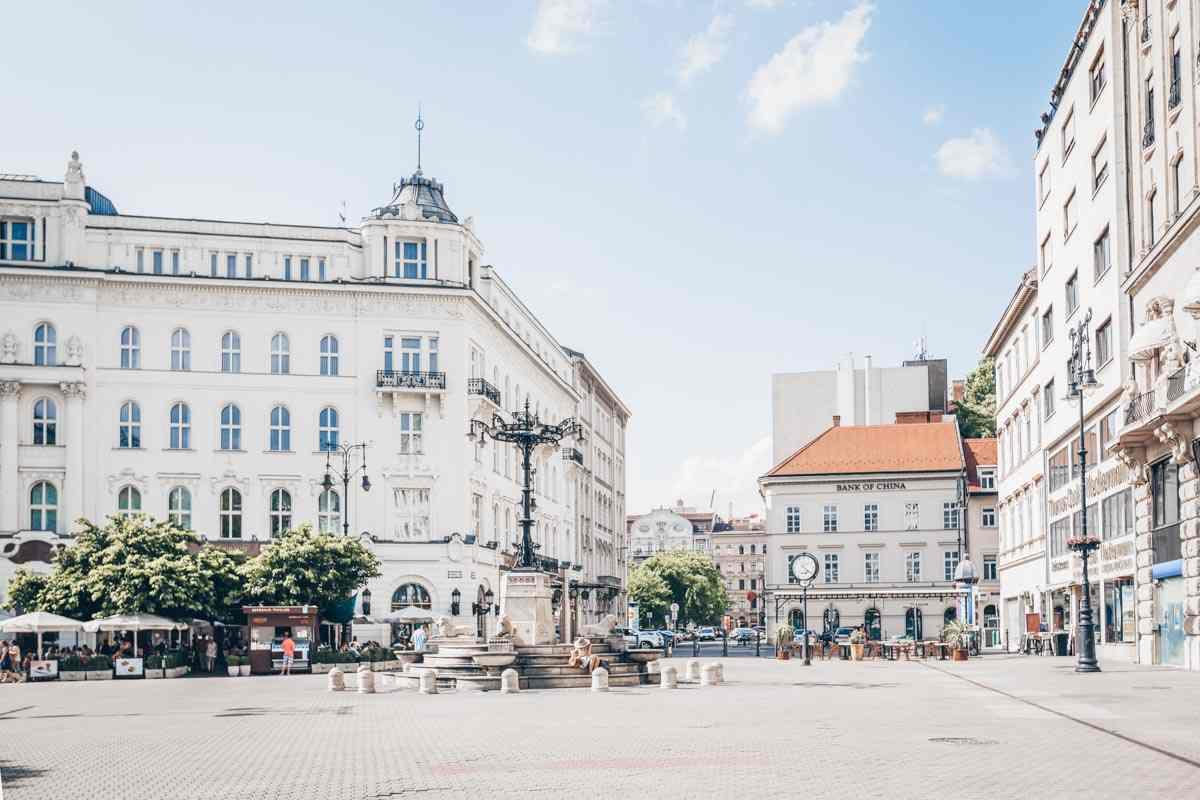 Buildings surrounding Vorosmarty Square in Budapest. PC: Castenoid - Dreamstime.com