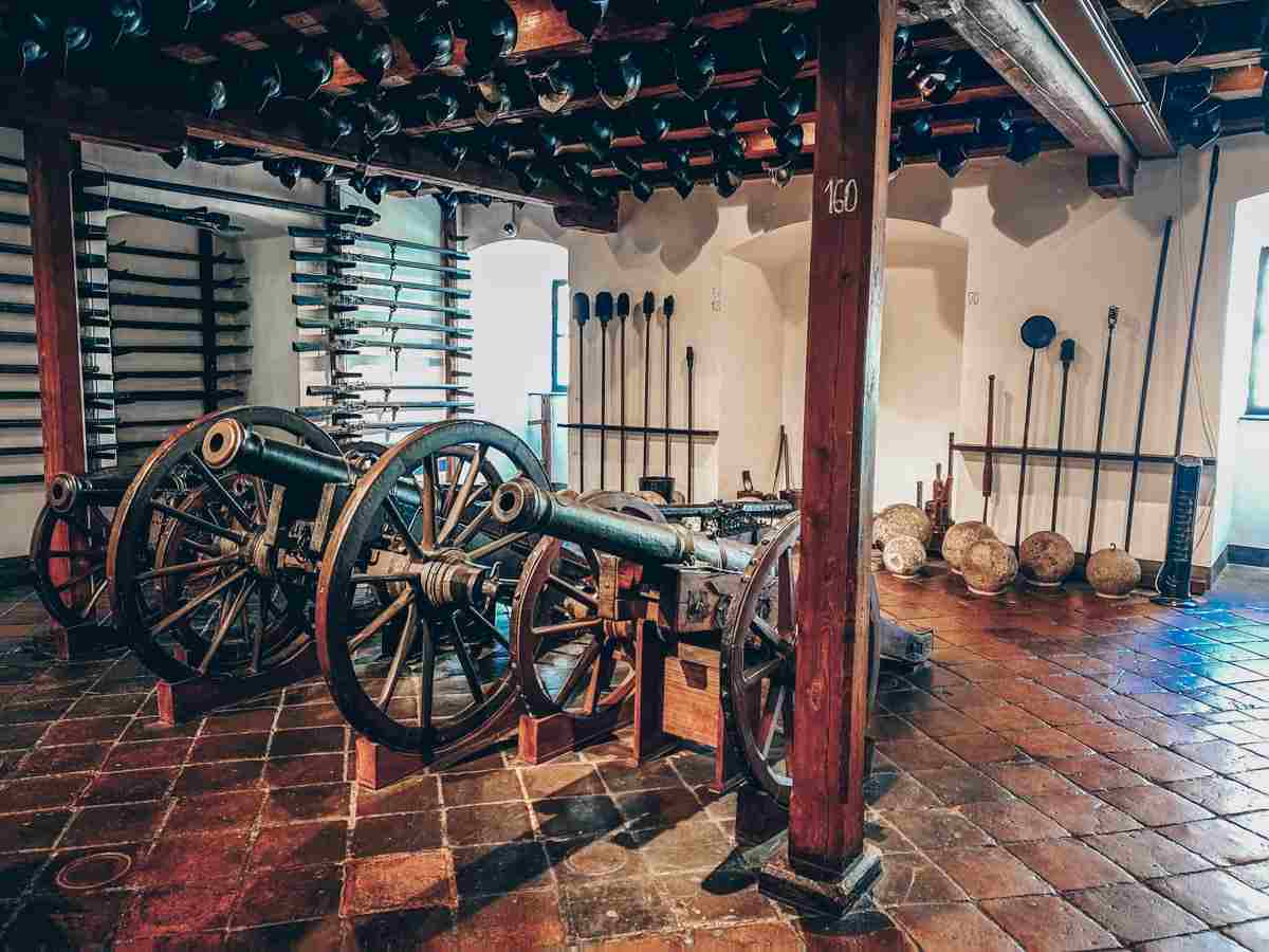 Canons and firearms on display at the Styrian Armory (Landeszeughaus) in Graz