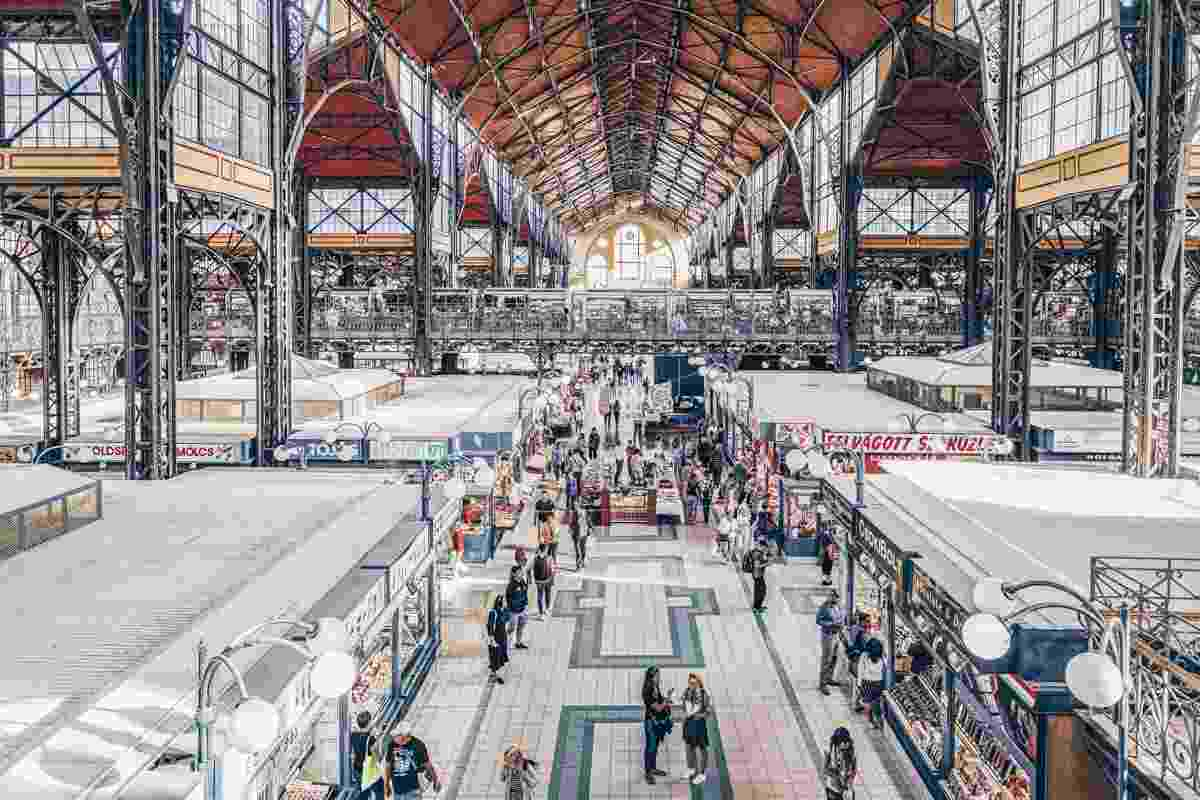 Budapest attractions: Numerous food stalls in the cavernous Great Market Hall. PC: Carlos Soler Martinez - Dreamstime.com