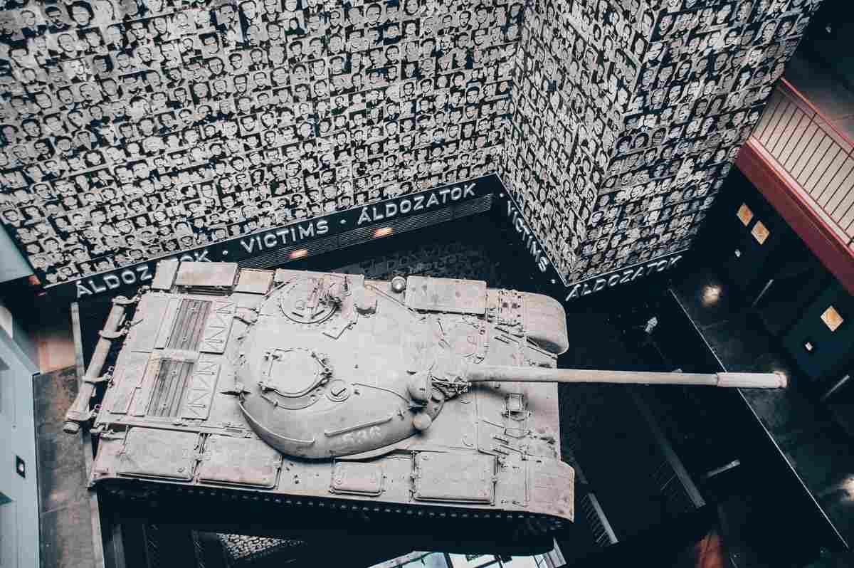Soviet T-54 tank inside the House of Terror in Budapest
