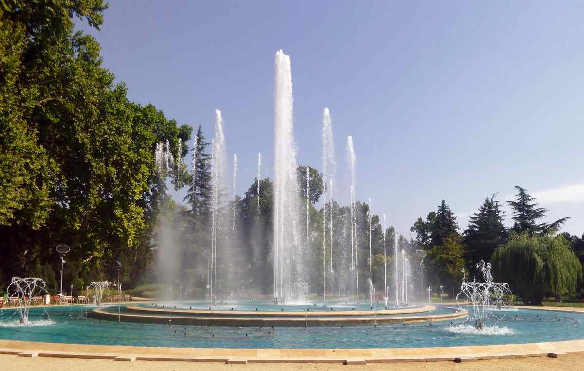 The popular musical fountain on Margaret Island in Budapest