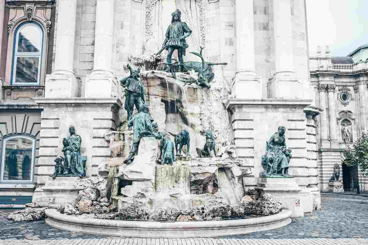 Budapest attractions: The ornate Mathias Fountain on Castle Hill