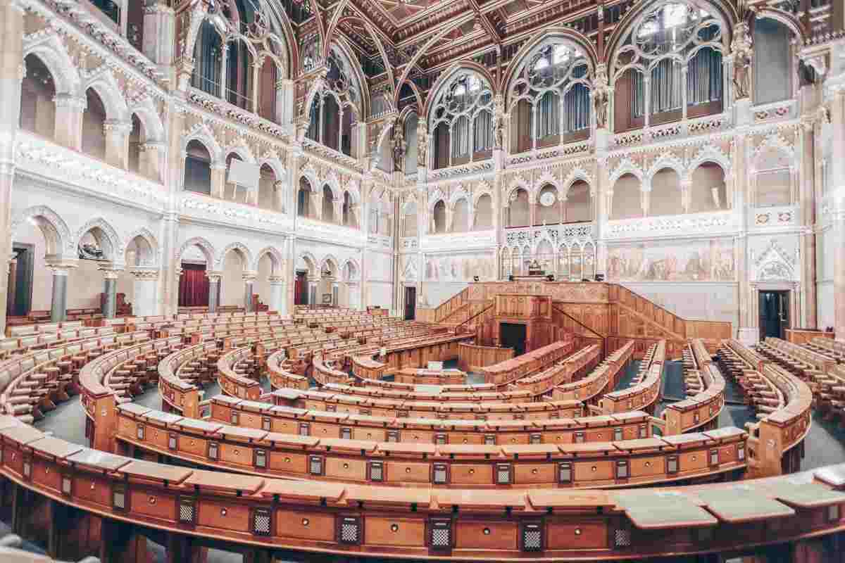 The Deputy Council Chamber of the Hungarian National Parliament Building in Budapest