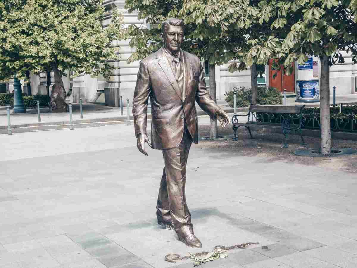 A life-size bronze statue of former US president Ronald Reagan in Freedom Square, Budapest