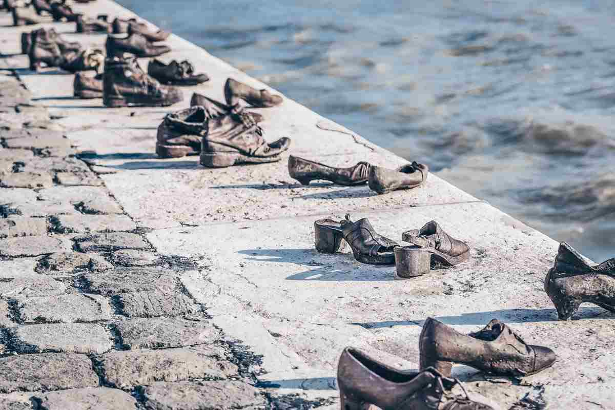 """Pairs of cast-iron shoes of the """"Shoes on the Danube Bank"""" Memorial in Budapest"""
