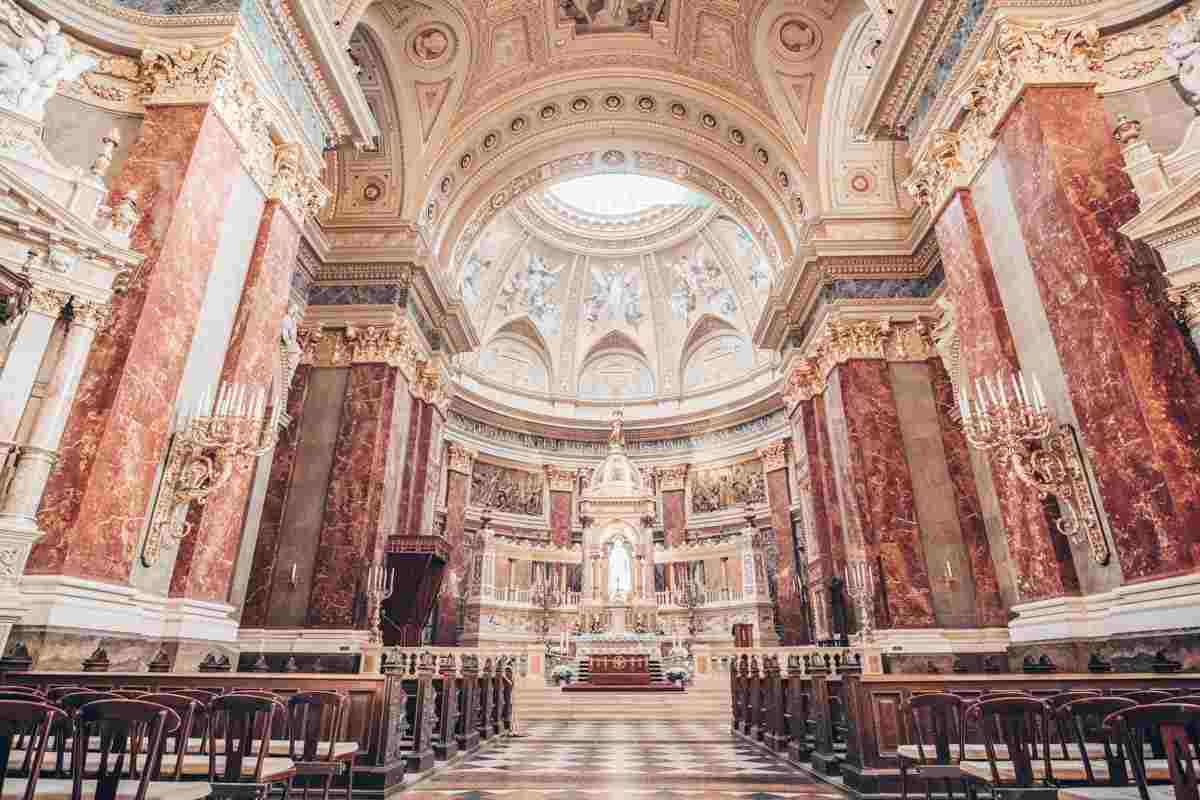 The incredibly ornate interior of the St. Stephen's Basilica in Budapest