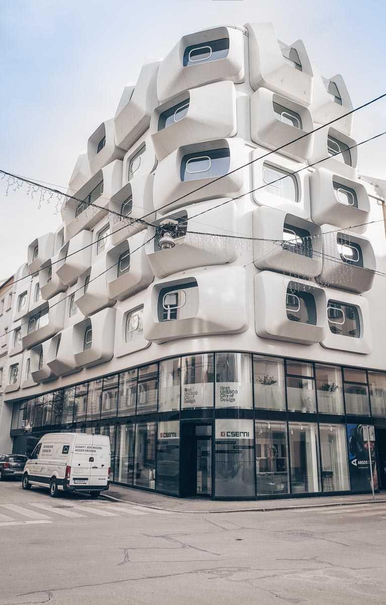 Graz Sehenswürdigkeiten: Das modernistische Argos-Apartmentgebäude