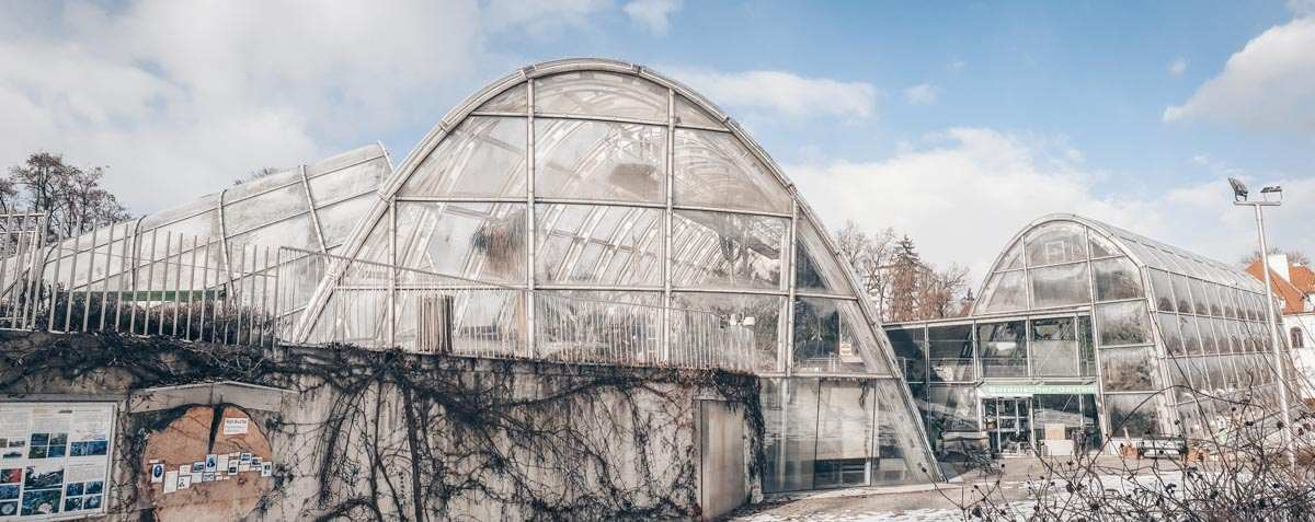 The famous curved greenhouses of the Graz Botanical Gardens