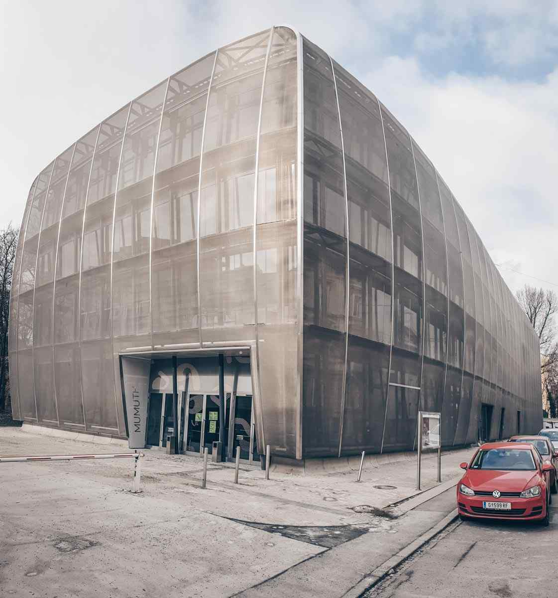 The monochrome metal mesh of MUMUTH-the University of Music and Performing Arts in Graz