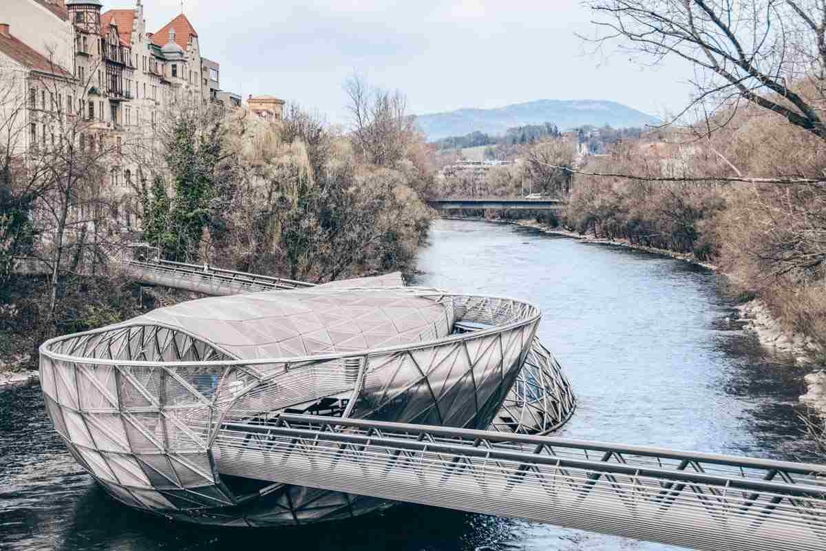 Visit Graz: The cutting-edge island-cum-bridge Murinsel on the River Mur