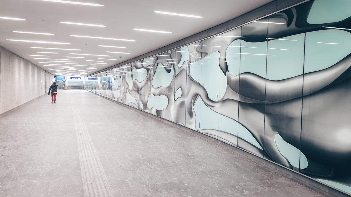 Graz Hauptbahnhof: Dazzling art display inside the pedestrian tunnel of Graz Train Station
