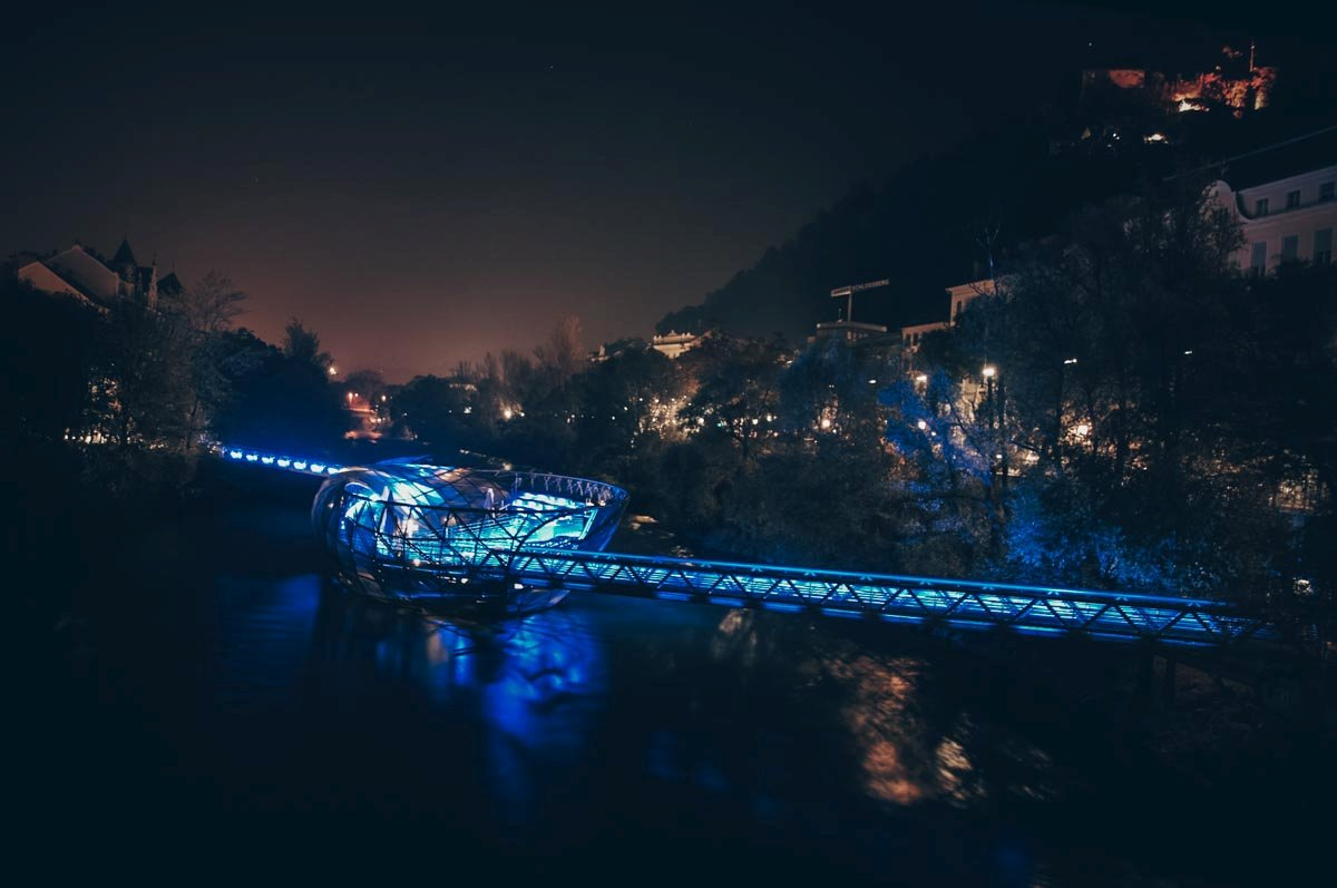 Graz Architecture: The illuminated Island in the Mur (Murinsel) in the night