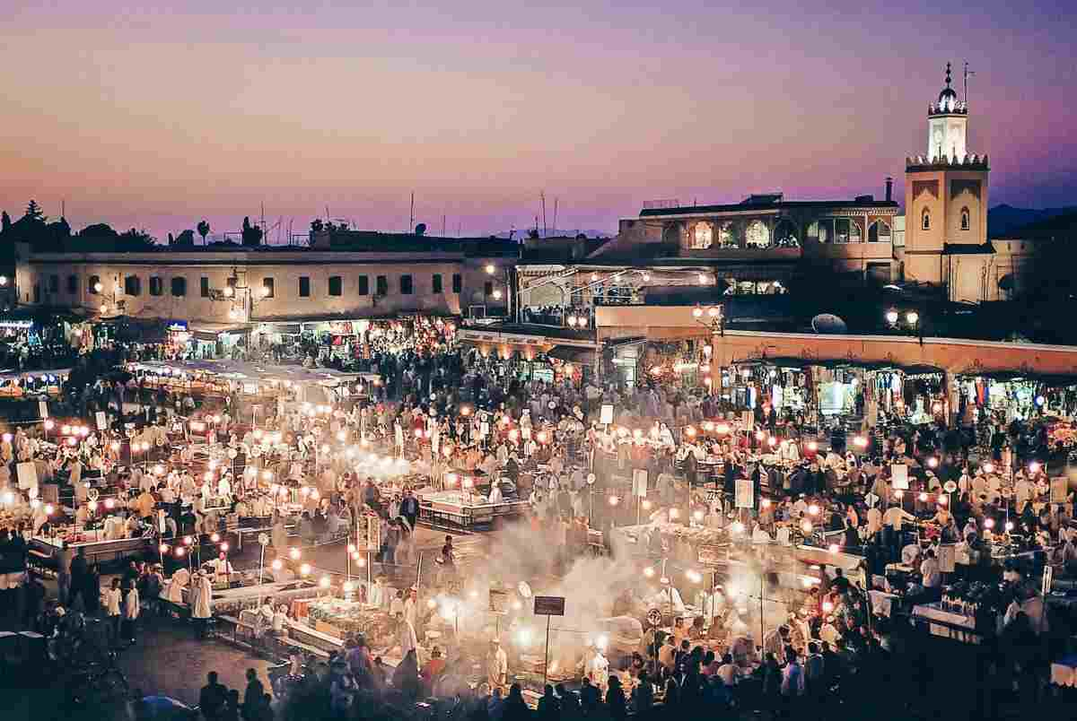Marrakech: Panorama of the Jemaa el Fna square in the evening