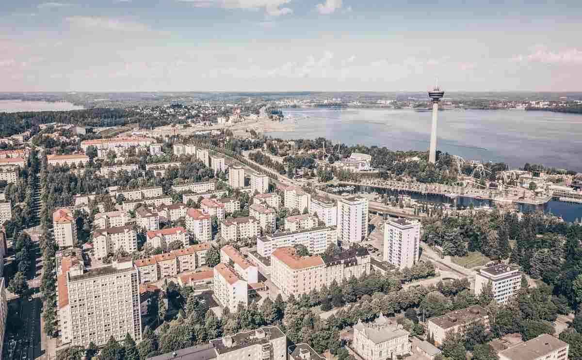 Panoramic aerial view of Tampere Finland