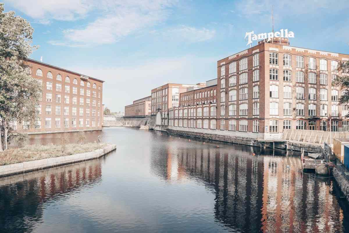 Tampere: View of the Tammerkoski Rapids and the historic Finlayson Factory complex