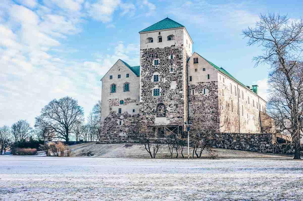 Turku attractions: View of the historic 13th century Turku Castle in winter