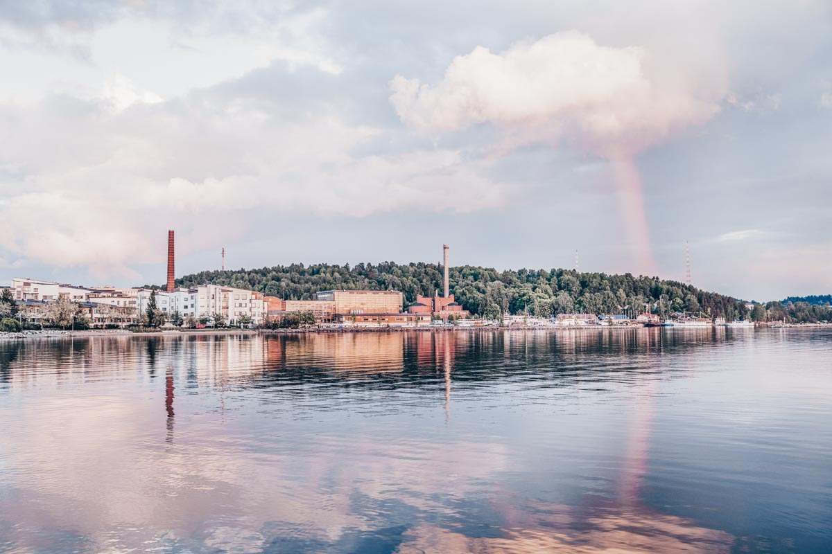 Panoramic view of the Lahti harbour in the summer