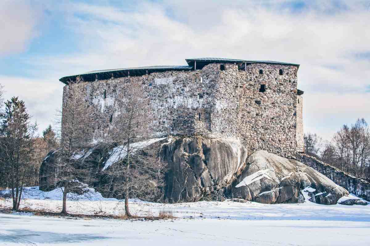 Castles in Finland: Exterior of the 14th century Raseborg Castle in winter