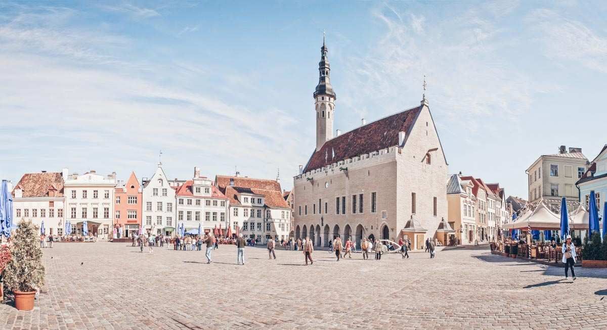 Points of interest in Tallinn: People in the sprawling Old Town Square