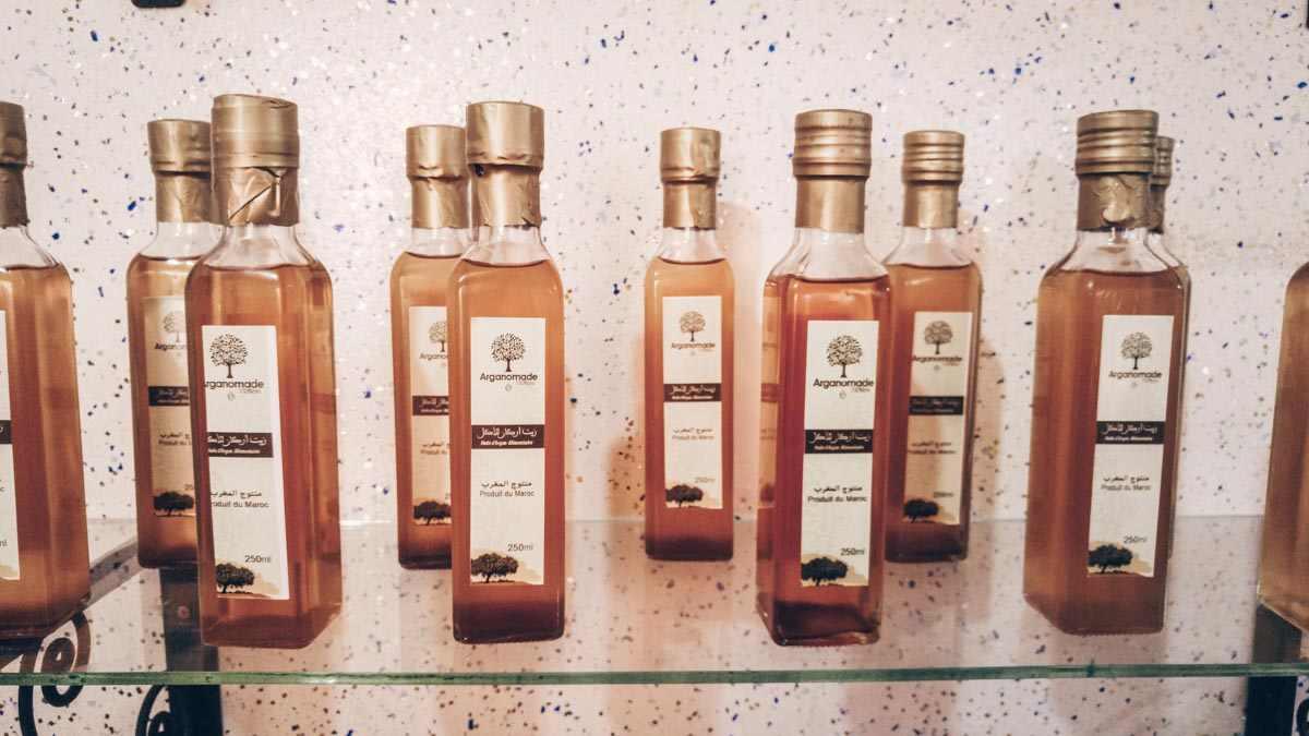 Essaouira: Argan oil bottles on display