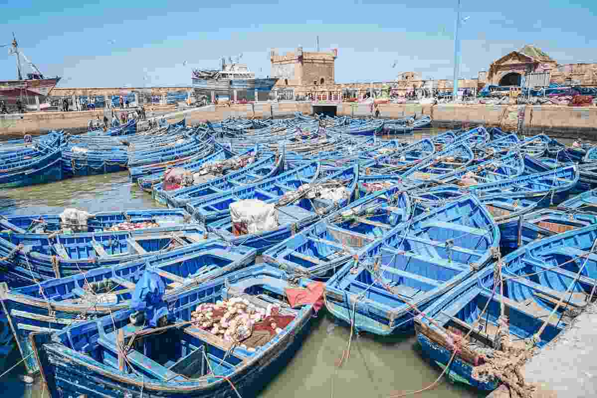 Essaouira: Rows of wooden blue colored boats with the Skala du Port in the background