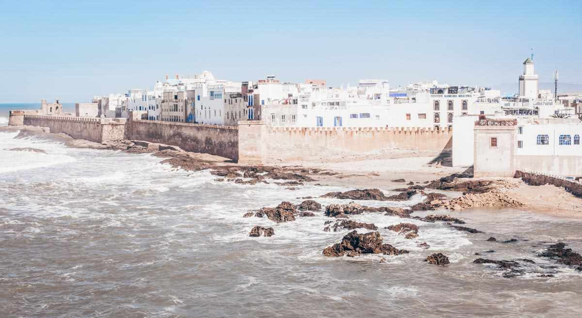 Essaouira: Panoramic view of the ramparts and the whitewashed buildings of the medina