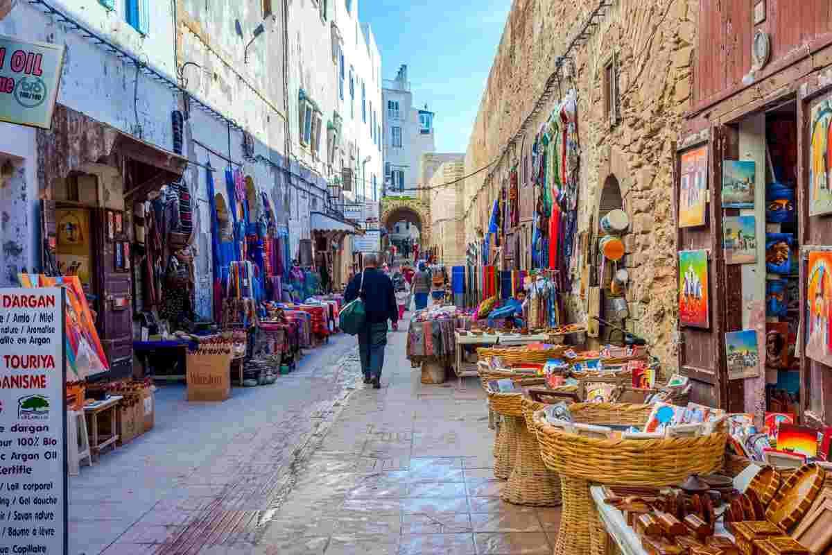 Things to see in Essaouira: Various goods on the street in the souks. PC: Dinozzaver - Dreamstime.com
