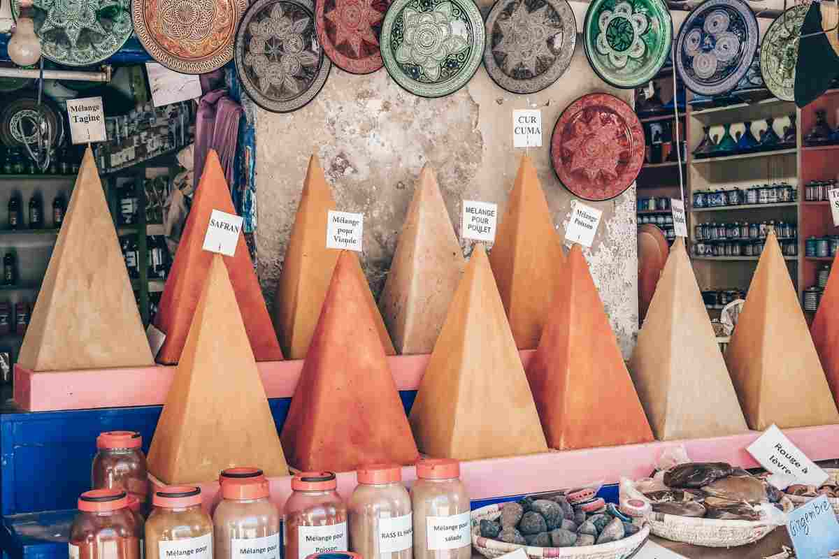 Essaouira: Pyramidal mounds of colorful spices on display in the souks