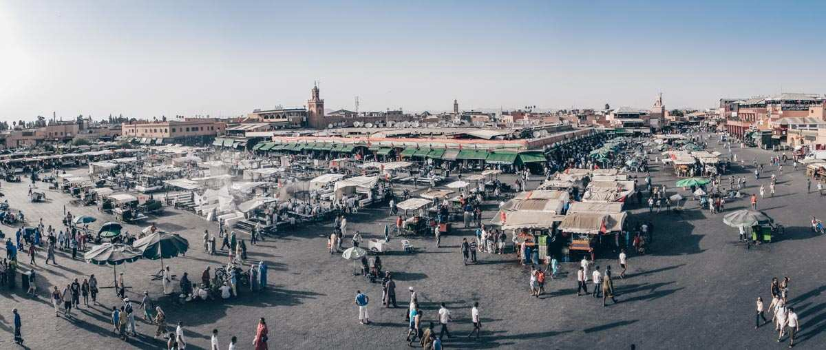 Marrakech: A stunning panorama of the famous Jemaa el Fna in the afternoon. PC: FoxLimaOscar, CC BY-SA 3.0 <https://creativecommons.org/licenses/by-sa/3.0>, via Wikimedia Commons