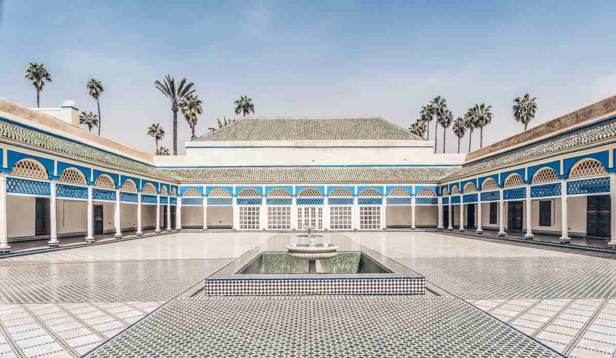 Marrakech: The elaborate Grand Courtyard of the Bahia Palace