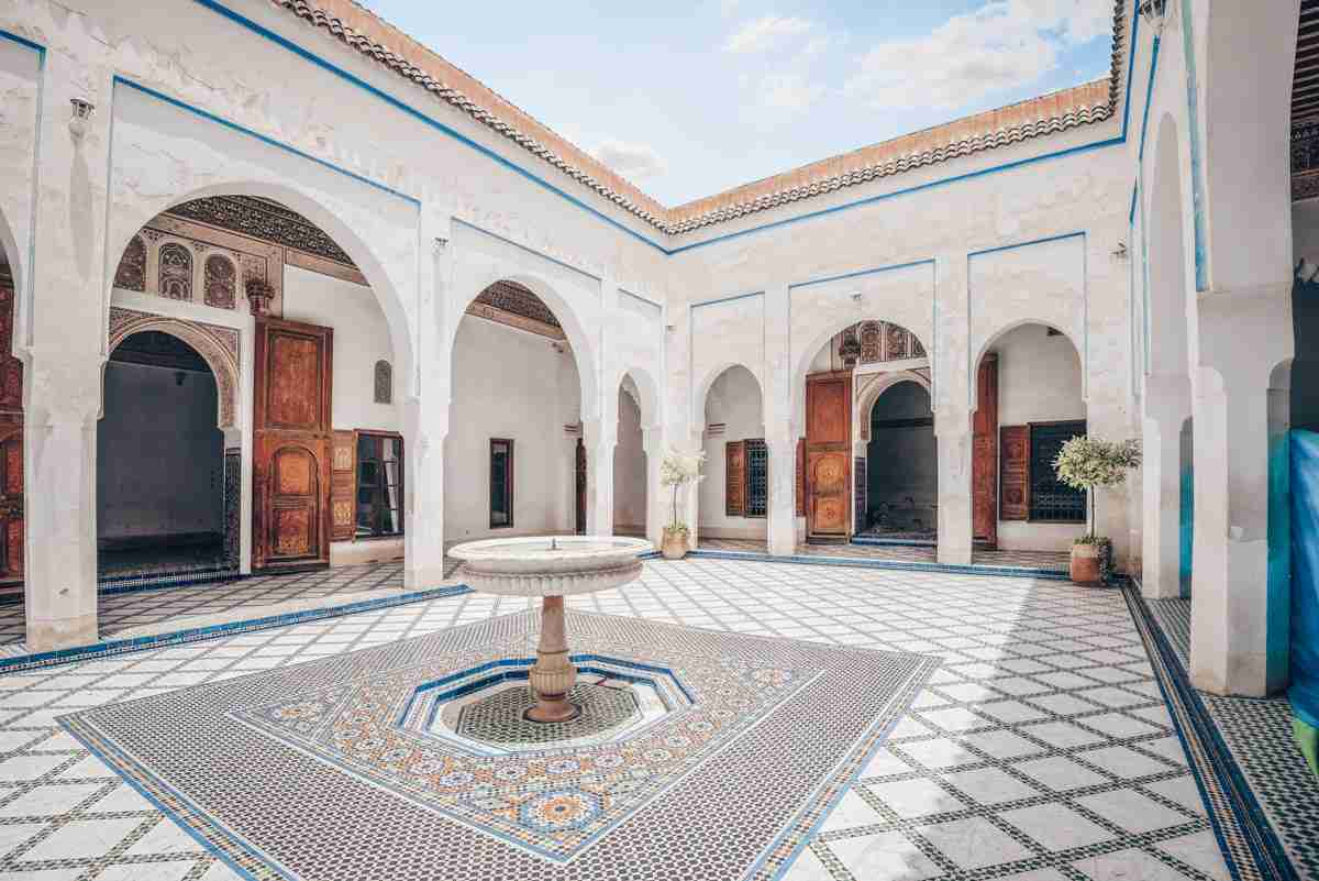 Marrakech: Elaborate tiled courtyard of the Bahia Palace