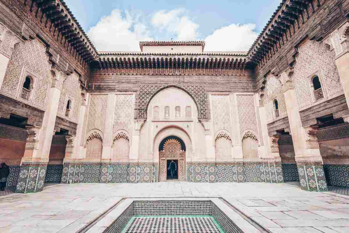 Marrakech: Splendid marble tiled courtyard of the Medersa Ben Youssef