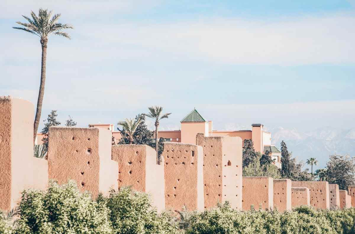 Marrakech: The pinkish-red city walls of Marrakech