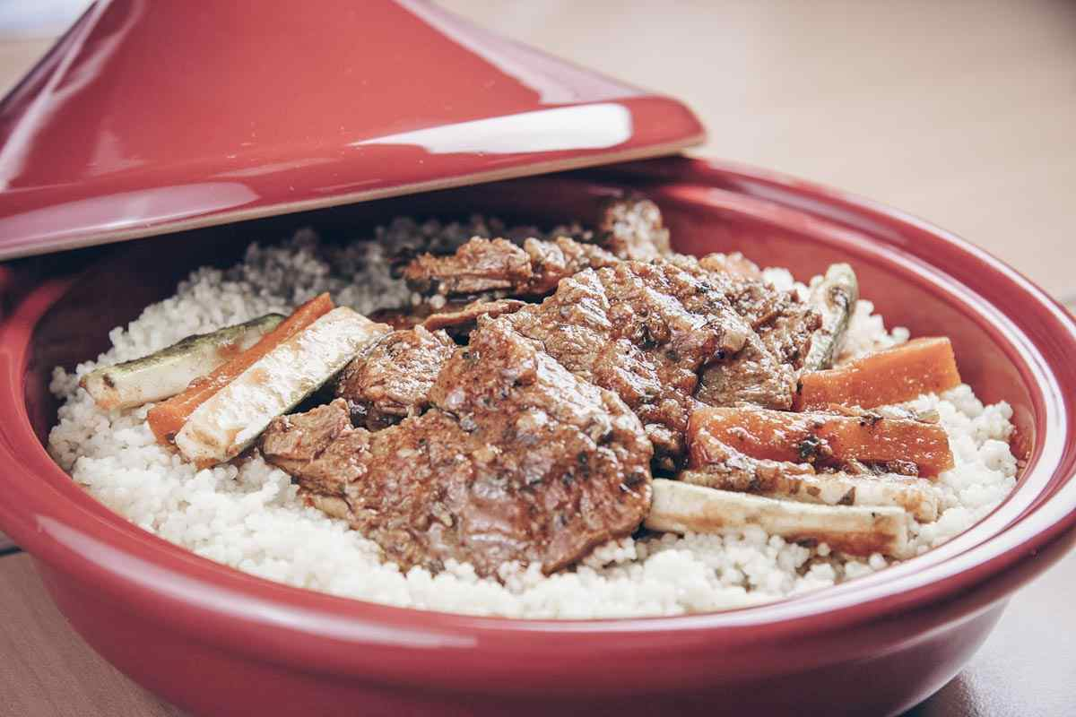 Morrocan food: Couscous served with lamb and carrots