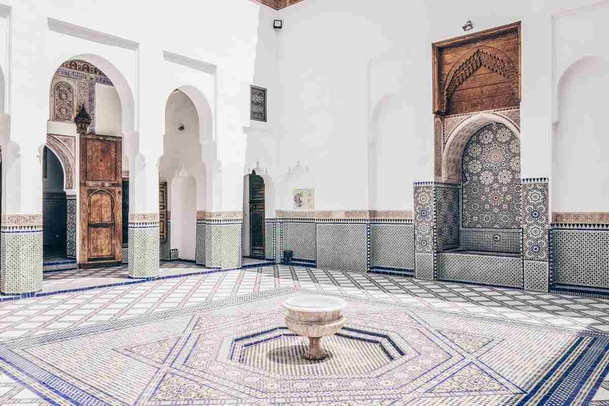 Marrakech: Elaborate marble tiled courtyard of the Dar Si Said Museum